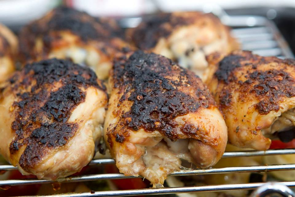 This piri-piri chicken was served with roasted root vegetables