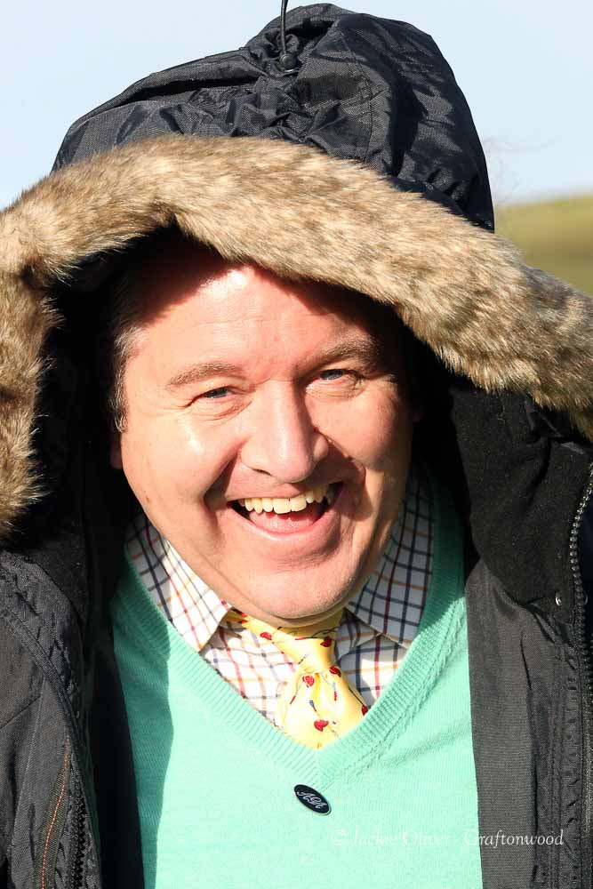 Heather Kemp insisted that I put my hood up, as ever, Jackie Oliver was in the right place at the right time!