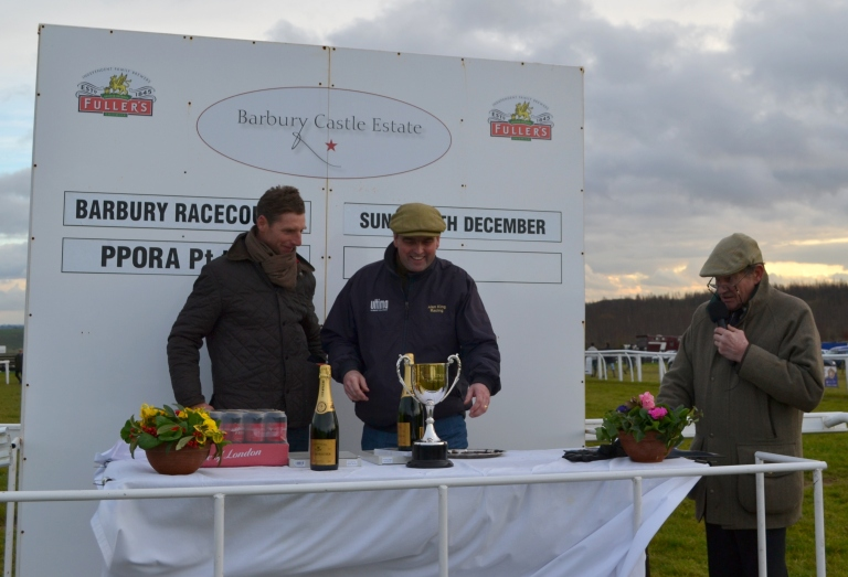 Alan King and Tom Lacey with announcer Mark Barlow following the PPORA Club Members Maiden 4&5yo race
