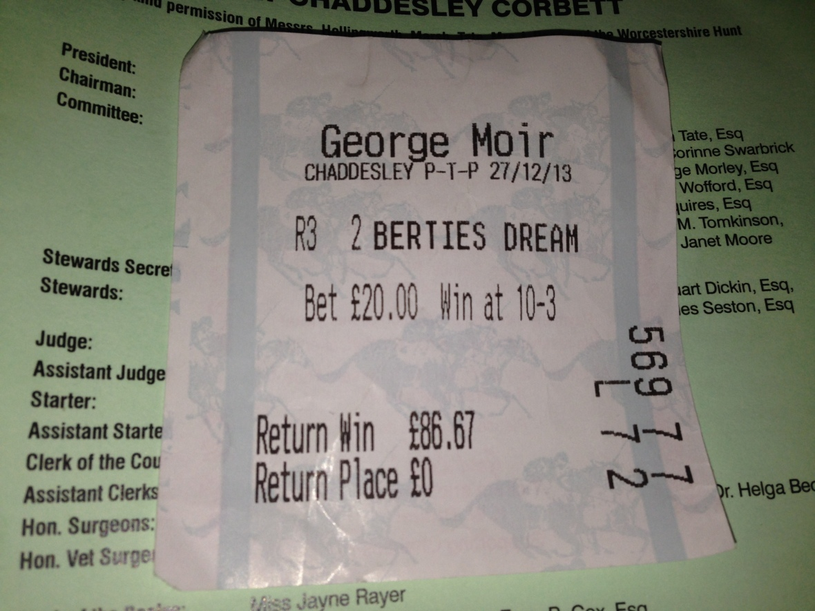 My bet on Bertie's Dream was not a winner, but I had a good run for my money