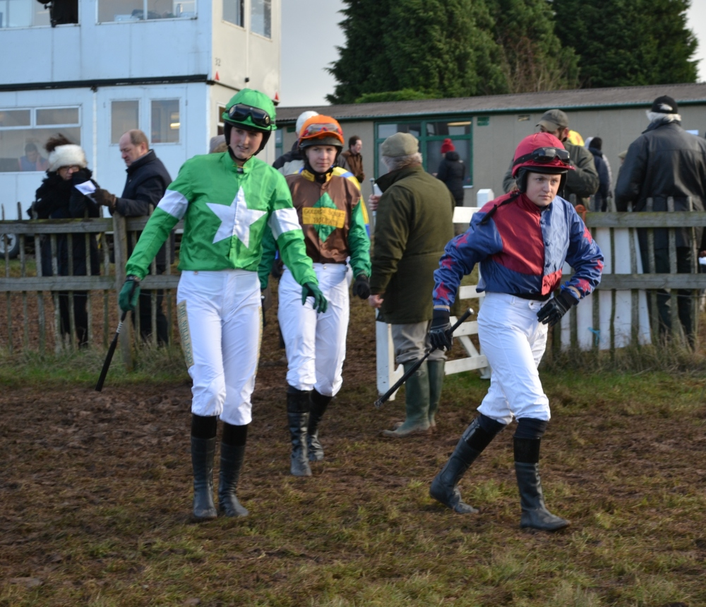 Hanna Jones (green silks with white star), Emma Todd and Charlotte Hawker