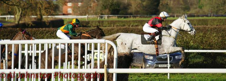 A flying leap from Silver Token (Charly Prichard) in the first