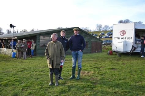 L-R Bookmaker Neil Astor, rider Joe Hill and trainer Alan Hill watch Division 2 of the Open Maiden 456&7yo race