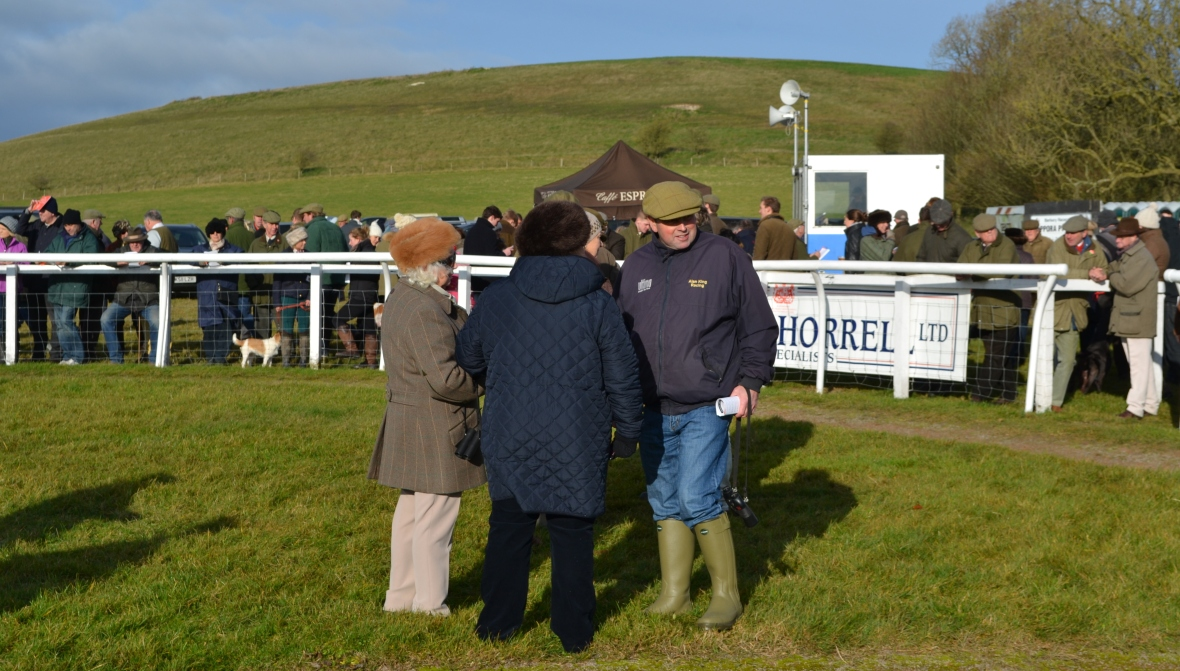 Top National Hunt trainer Alan King casts his eye over the runners before the Jockey Club Open Mares Maiden