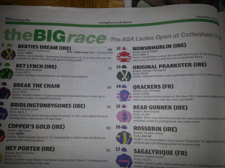 The headline in Pointing Plus, which accompanied a full page racecard in colour