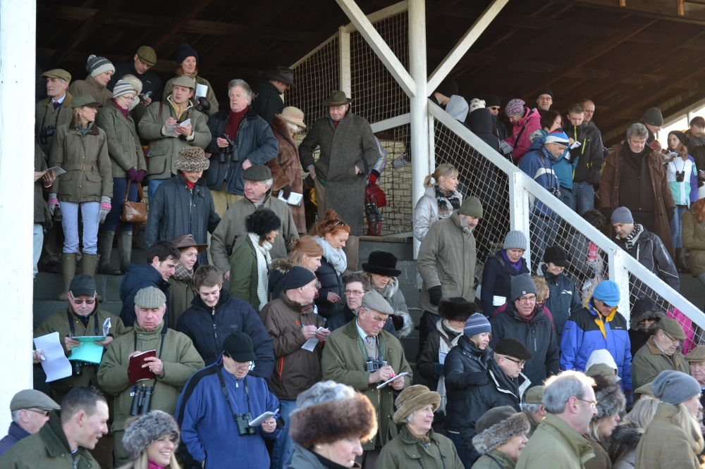 A packed stand at Cottenham just after the Mens Open race