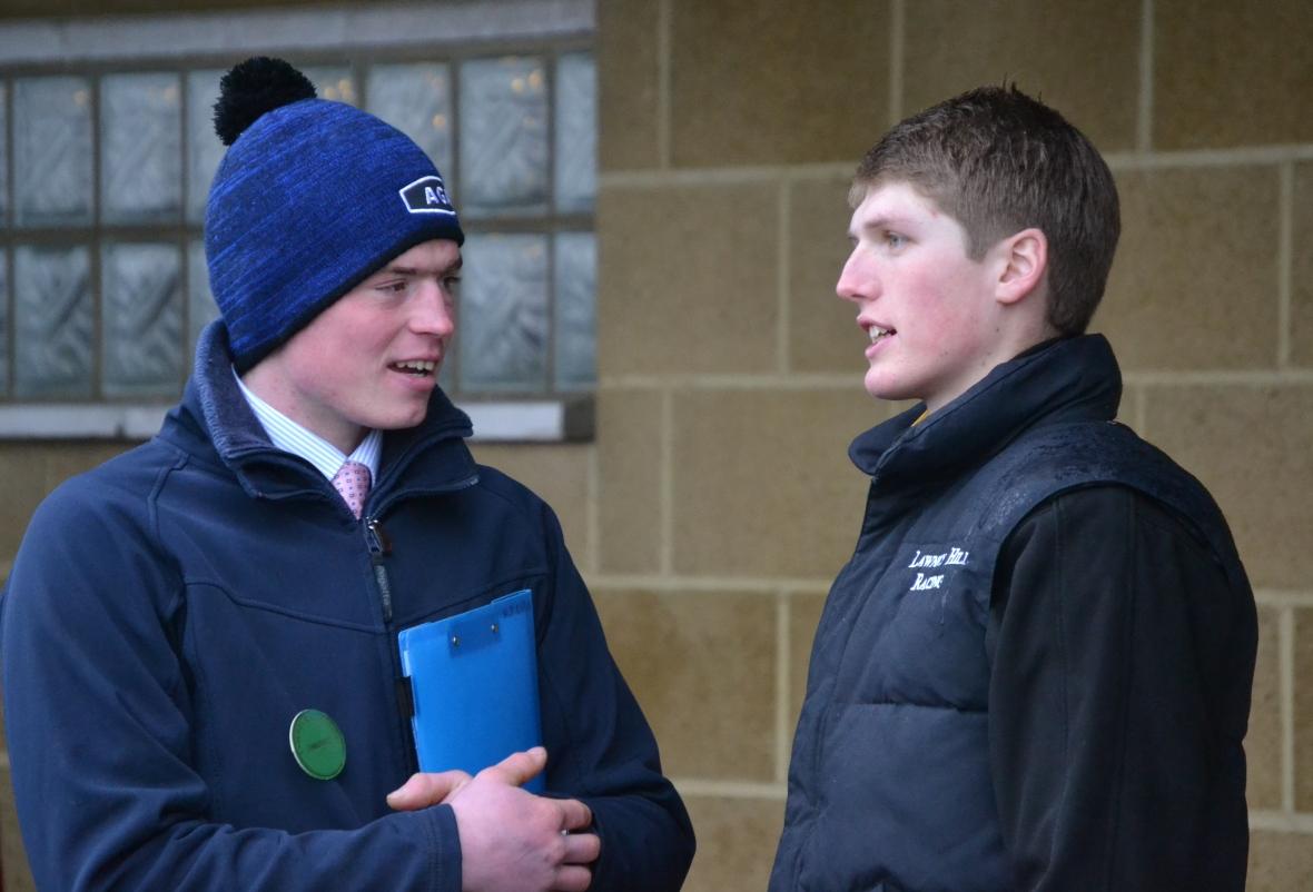 Commentator Nick Child chats to jockey Joe Hill