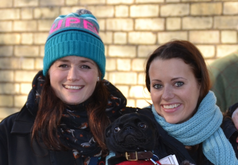 Sarah 'Ripper' Rippon and Camilla Henderson,with Willa the adorable pug