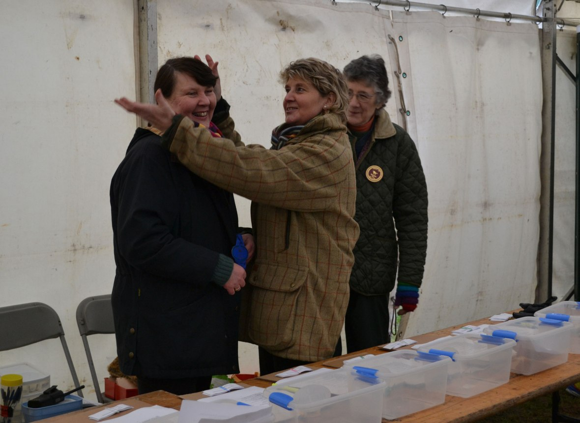 The Hon. Secretary, Hilary MacTaggart has fun in the decs tent with colleagues Jane Allison & Annie Gardiner