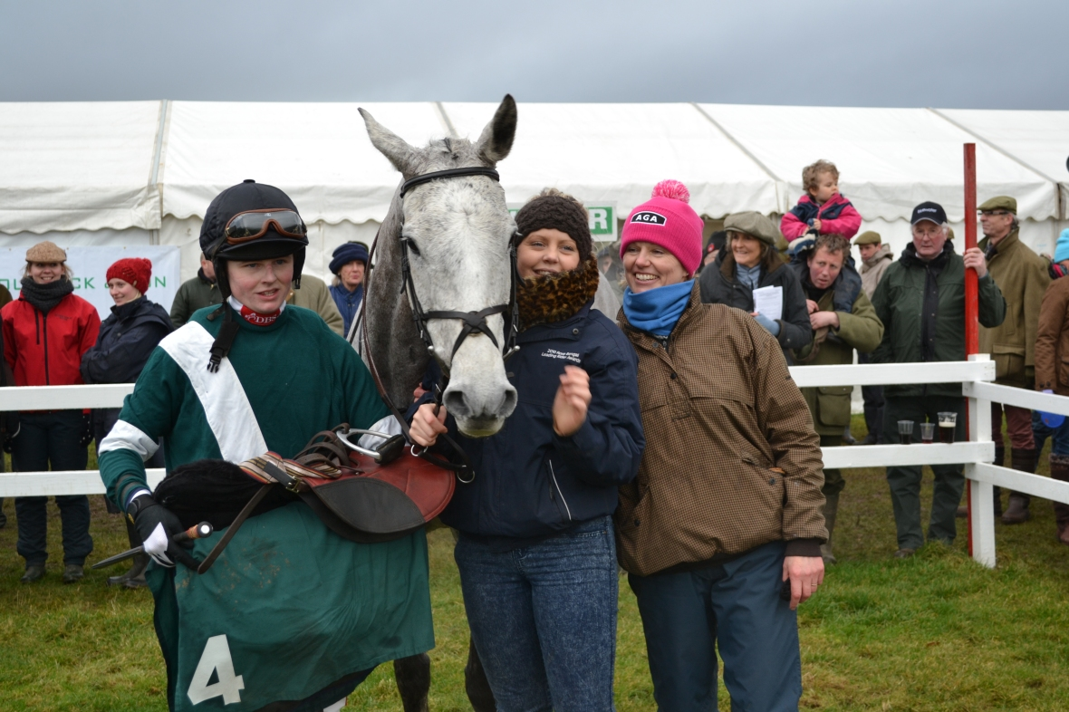 Silk and Roses has just won the Hunt Members race for Tom Hamilton and Wendy Hamilton