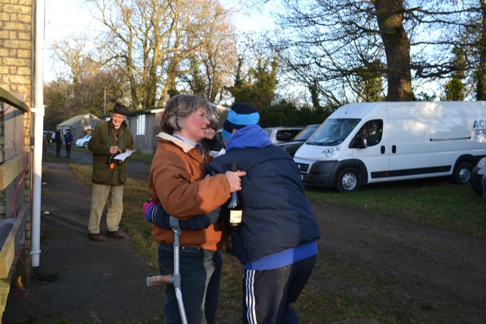 A hug from Sarah Dawson for the injured Hannah Watson