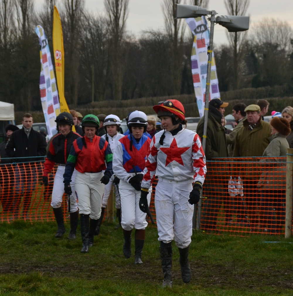 Here come the girls! Emma Todd leads Alice Petch (red cross belts), Catherine Walton (green cap), Lorna Brooke (black cap) and Jessica Gillam (white cap)