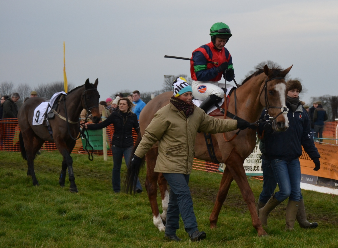 L-R Kristy Kettlewell, rider Catherine Walton and Lucy Kerr, followed by Laura Clark and Nosecond Chance (no 9)