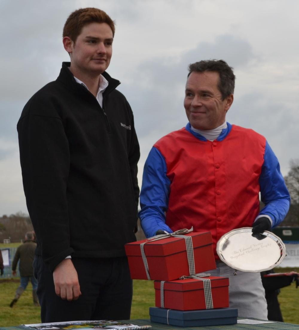 The Edmund Vesty Salver is presented to Jamie Alexander following the Bonhams Mens Open