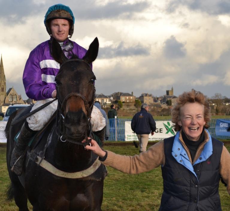 Splendid Blue and Nick Orpwood, winners of the Jockey Club Open Mares Maiden