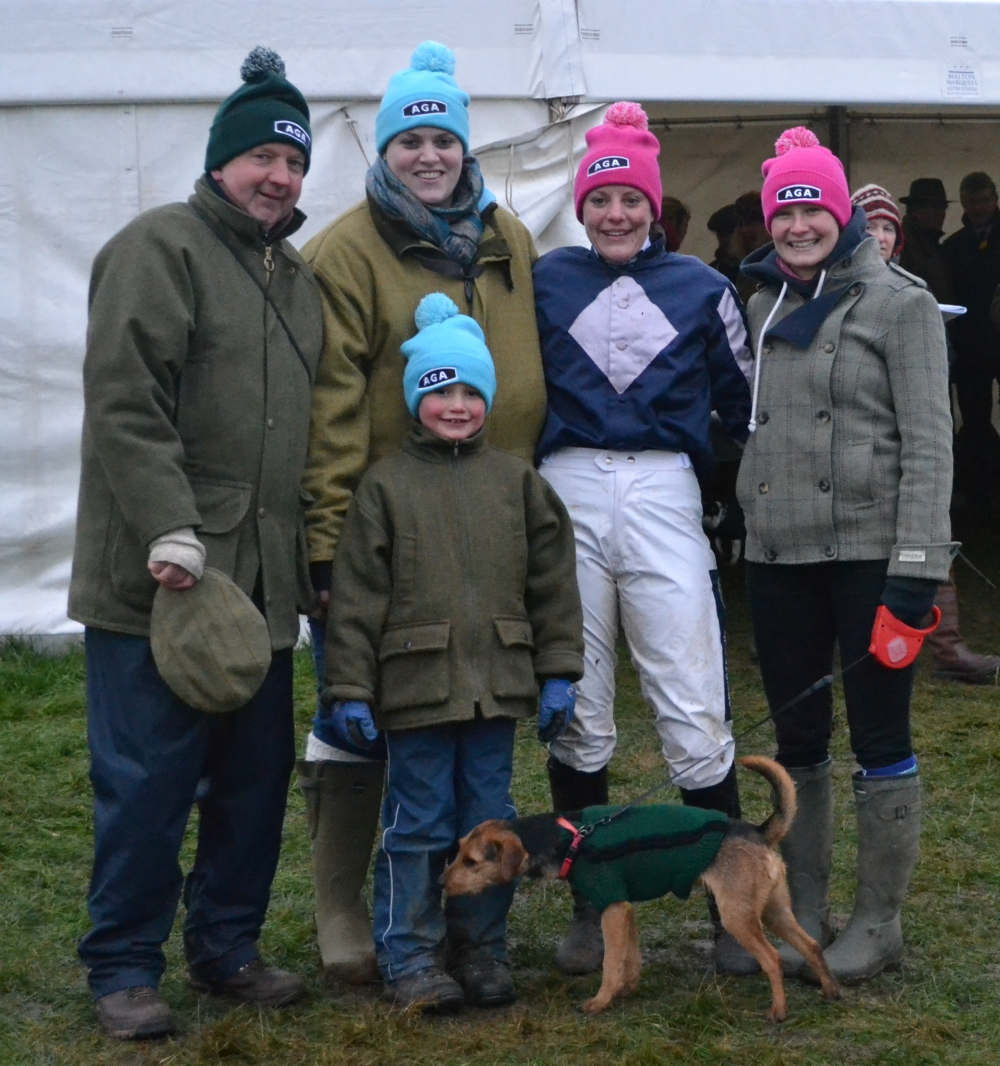 Tim Easterby, Samantha Coward, Jacqueline Coward, Jo Mason (with Pixie) and Thomas Easterby (front)