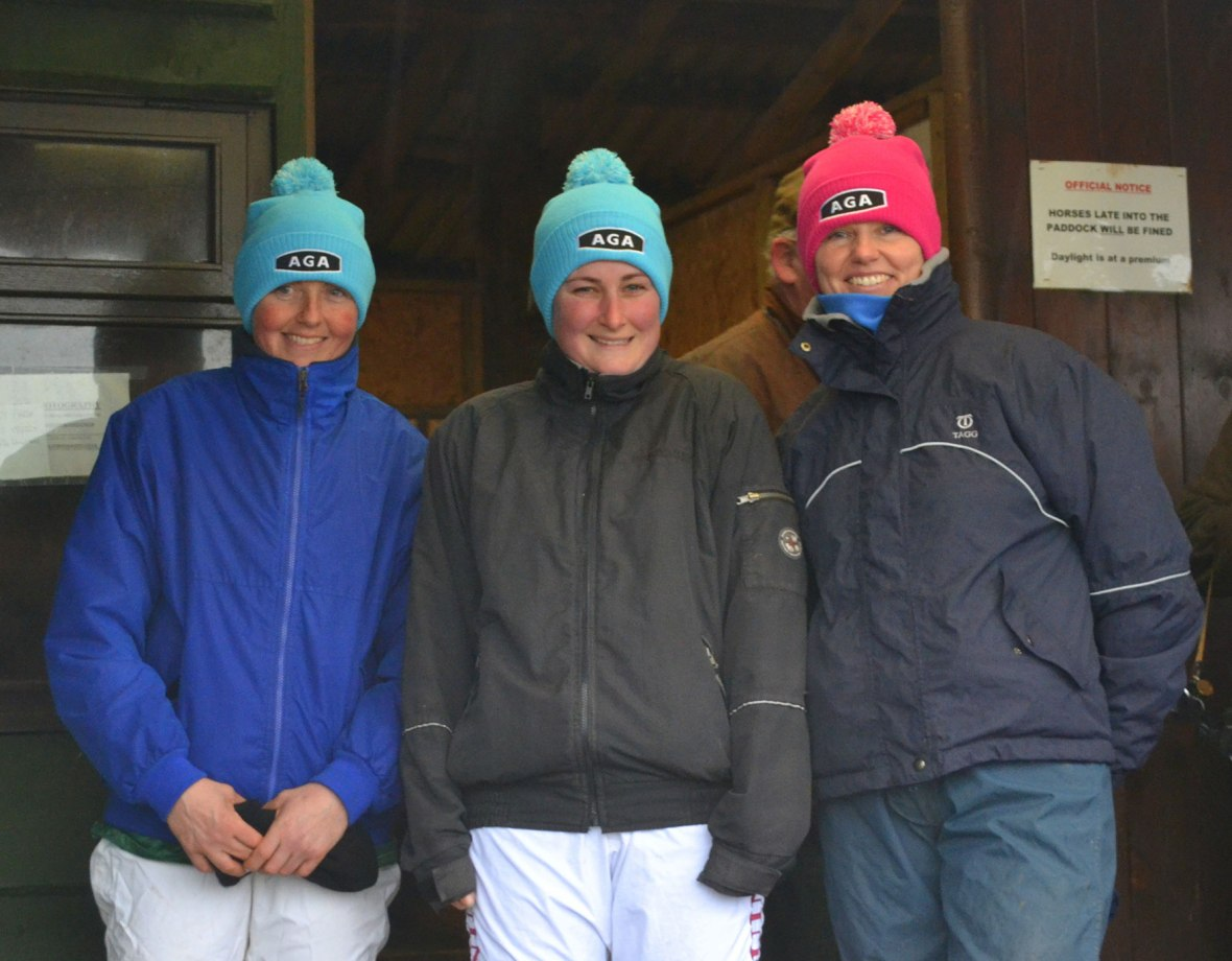 L-R: Claire Metcalfe, Kelly Bryson and Wendy Hamilton outside the weighing room
