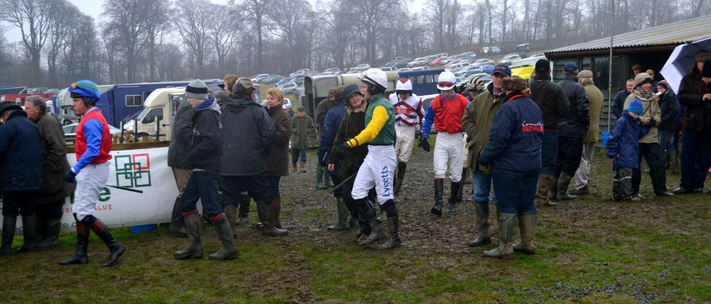 The jockeys head out for the Mens Open
