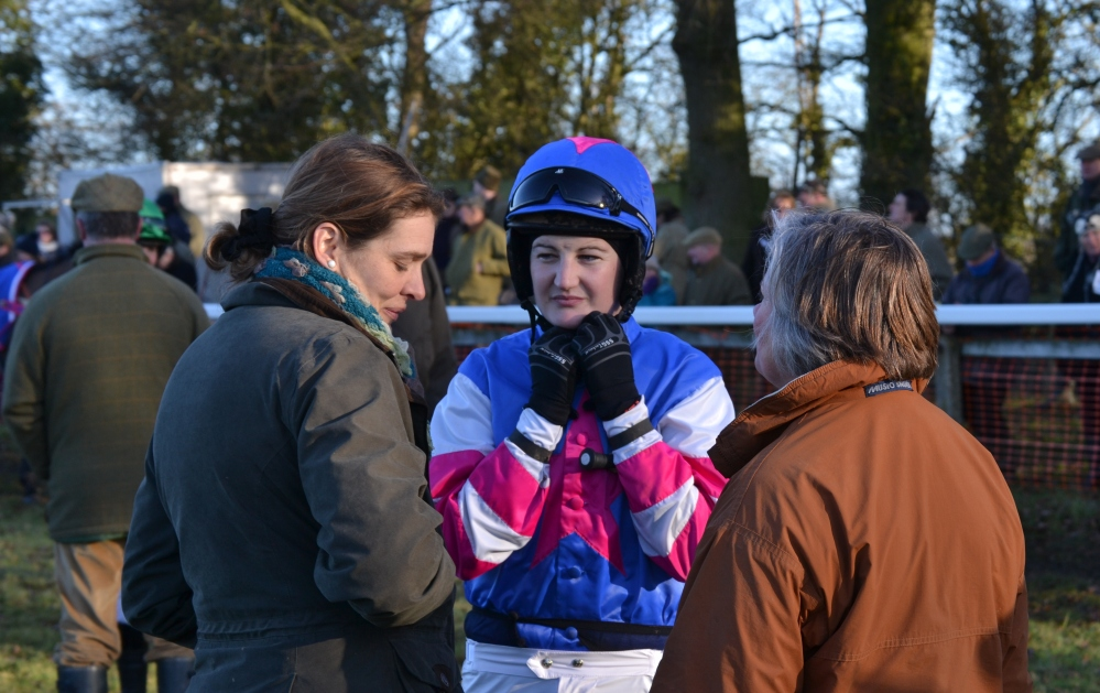 Instructions for Ally Stirling before the AGA ladies open from trainer Victoria Collins (left) and owner Sarah Dawson (right)