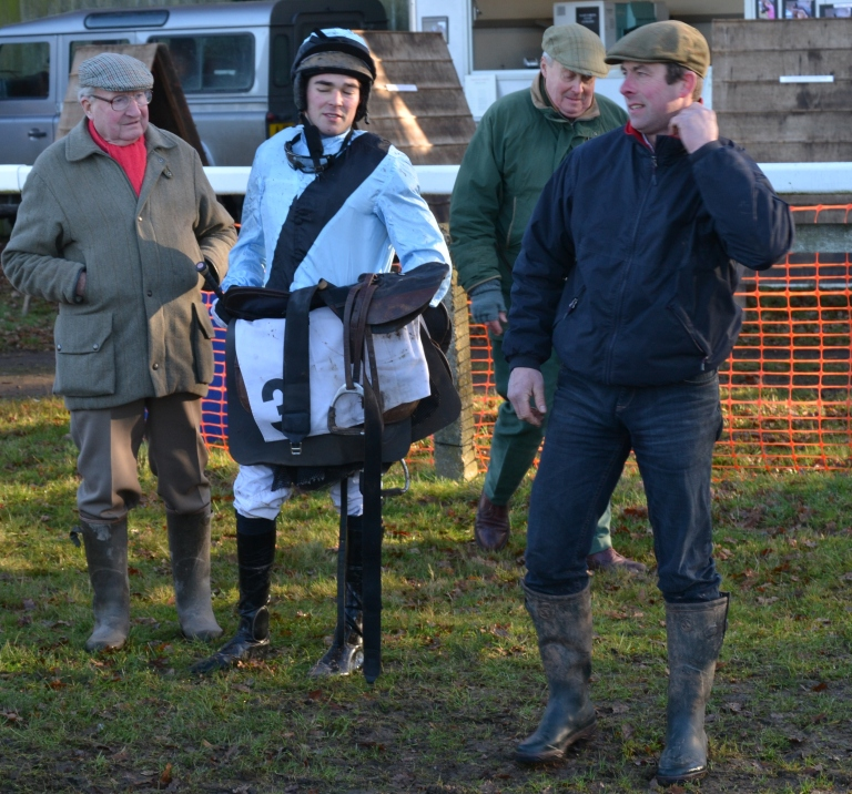 Jockey Alex Edwards and trainer Philip Rowley (far right) after Cheif Heckler had finished 2nd in the opener