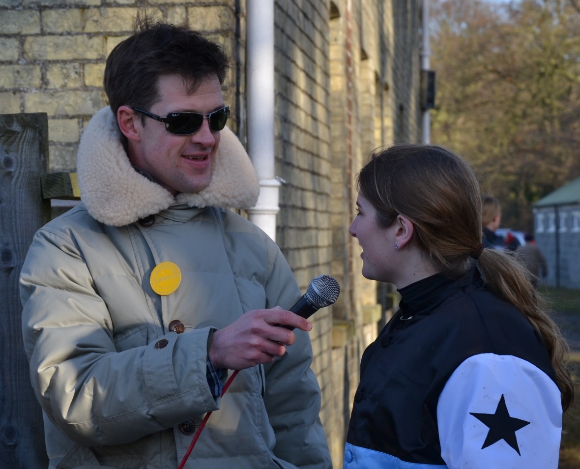 Mr Neale interviews Gina Andrews after her win in the Restricted