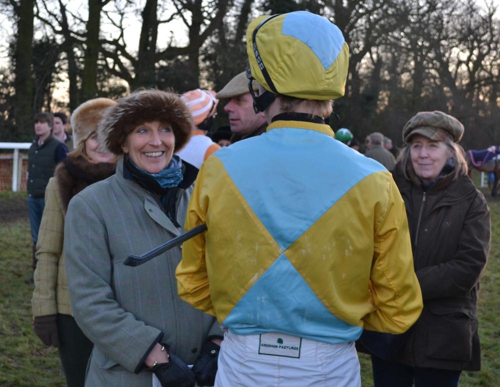 Pauline Harkin (furry headband) gives instructions to Pete 'Shep' Mann