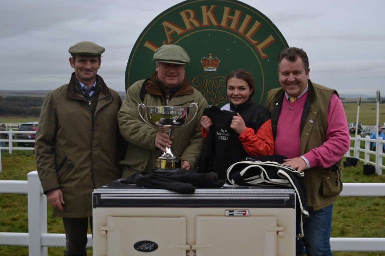 Sam Loxton (husband of trainer Rosie), Paul Nicholls, Meg Nicholls and David Simpson (AGA)