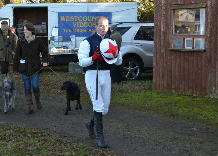 Toby Betambeau heading for the paddock to ride Guilty As Charged in the Restricted