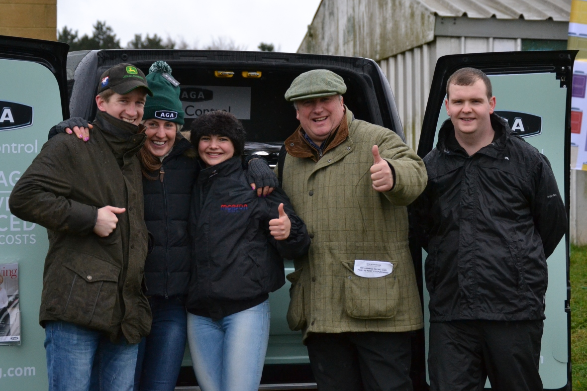 Tom Jonason (assistant trainer to Paul Nicholls), Chloe Newton (Pupil Assistant for Nicky Henderson at Seven Barrows), Meg Nicholls, Paul Nicholls, Dan Walden (3)
