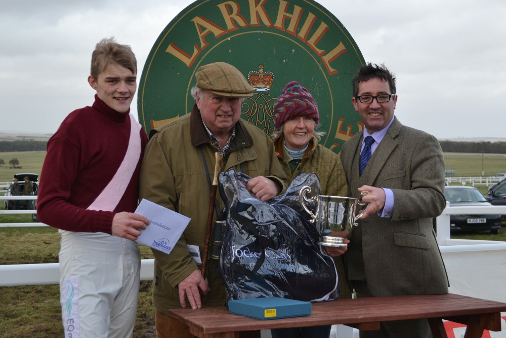 John Busby and Sylvia Edmunds are presented with the Duke of Gloucester Challenge Cup