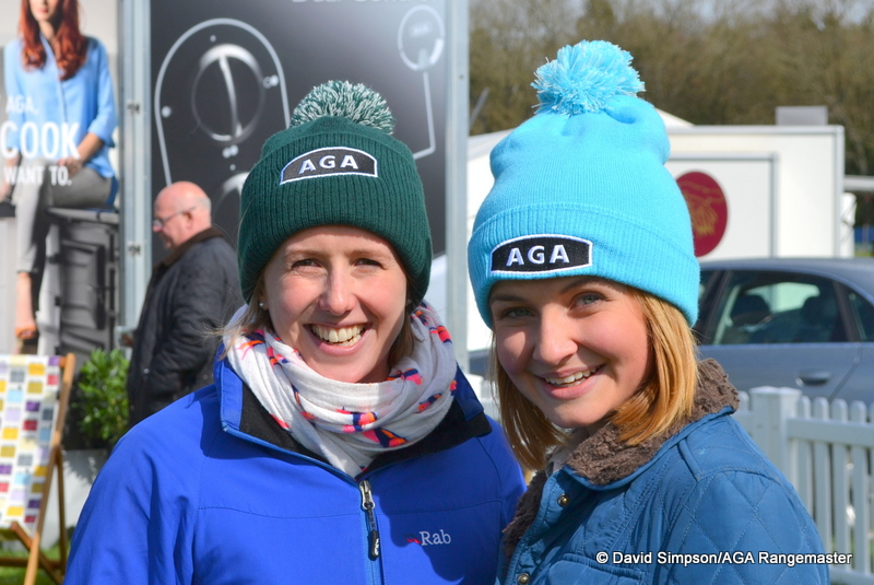 Becca Corbett has been promoting the 'AGA Hats Around The World' competition and she joined in the fun today with her friend, Sarah Kelk