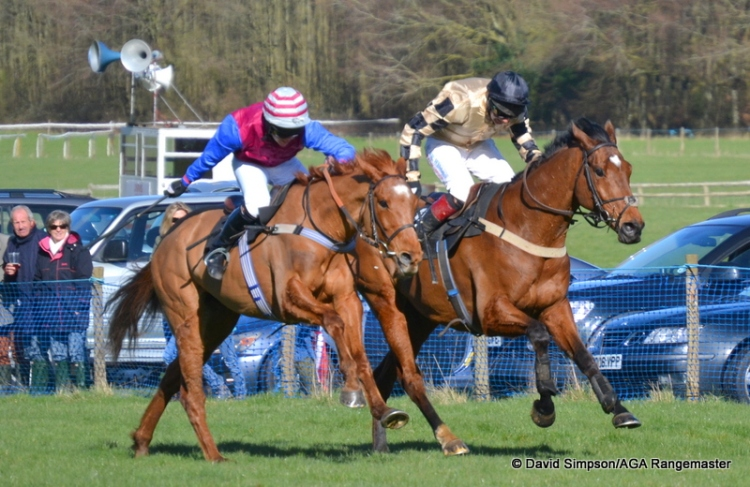 Moscow Blaze (nearside) and Shoreacres are stride for stride up the run-in