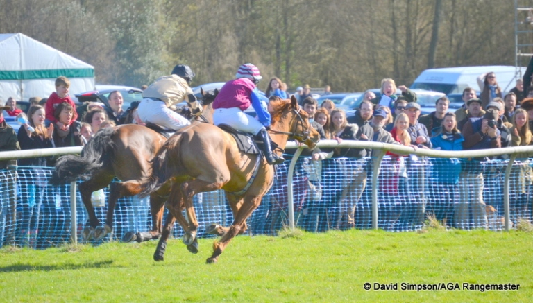 Moscow Blaze (nearside) and eventual winner, Shoreacres drive for the line