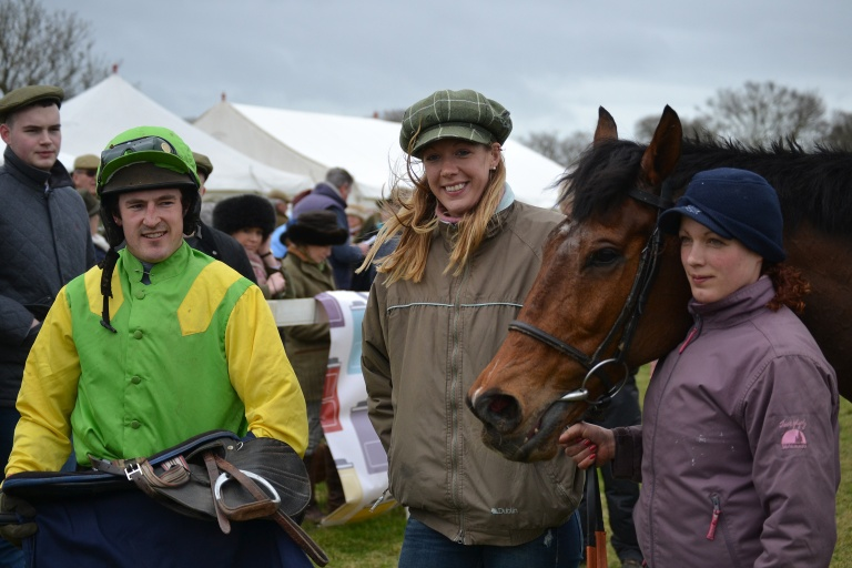 A 100/1 winner for Sam Painting, seen here with trainer Laura Thomas and Monika Gasparova