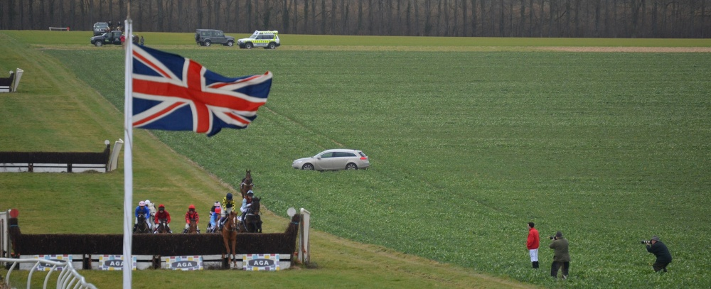 I'm normally by the last fence but had a different perspective on the race today, this is my view from the trailer