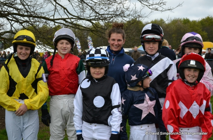 Katie Young lines up with the young pony riders in the paddock