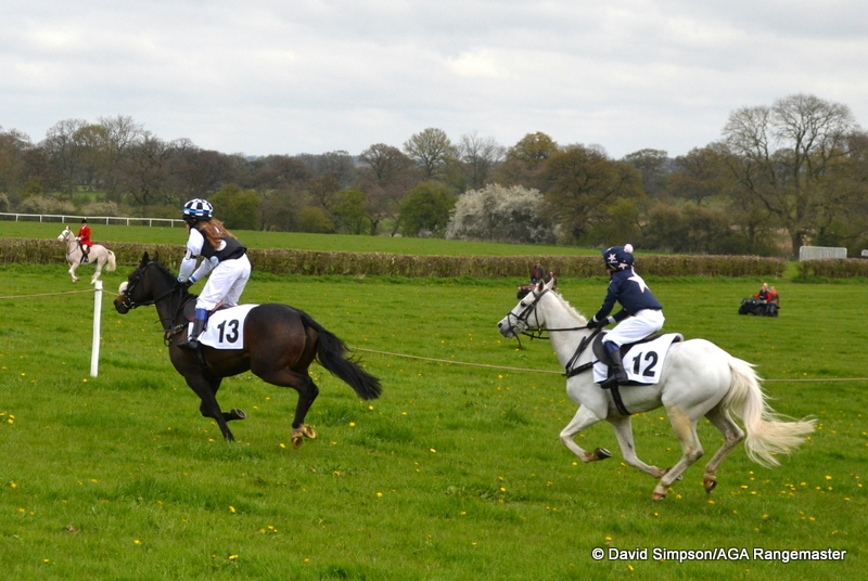 Tigga (Marnie Green, no. 13) & Ravara Super Ted (Camilla Broster), 3rd & 4th in the Edge Goodrich 13.2 and under Pony Race