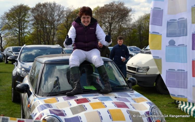 Sue climbs aboard