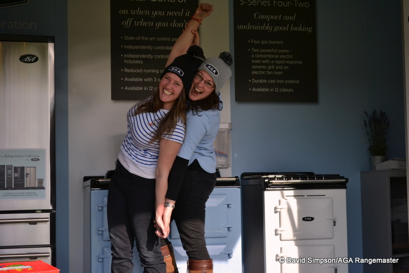 Becky and Sophie were really chuffed with their new AGA hats!