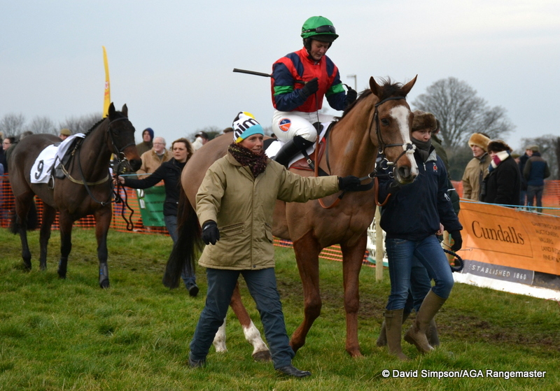 L-R Kristy Kettlewell, rider Catherine Walton, and Lucy Kerr, followed by Laura Clark and Nosecond Chance (no 9)