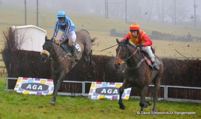 Sacred Mountain (orange and red) jumps the last ahead of eventual 3rd Non Dom (Siobhan Doolan)