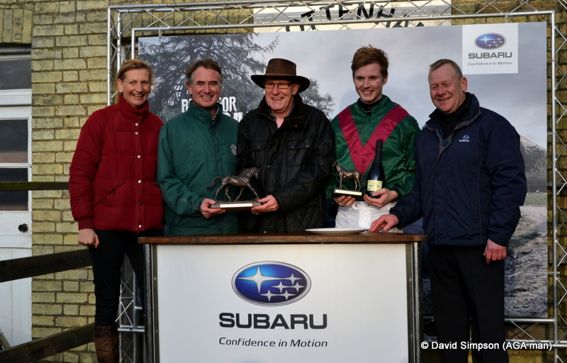 PPA executive, Clare Hazel, joins the Subaru boys to make the presentation to winning connections