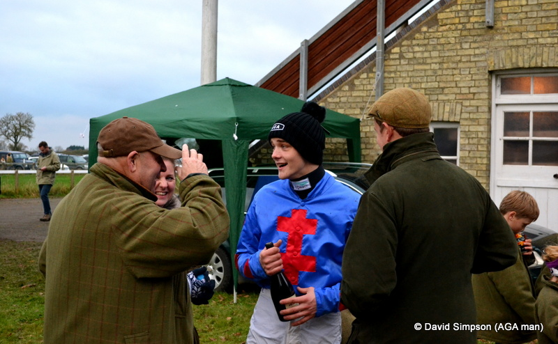 A win for Sam Davies-Thomas was celebrated with some Roses, a bottle of Prosecco and a new AGA hat