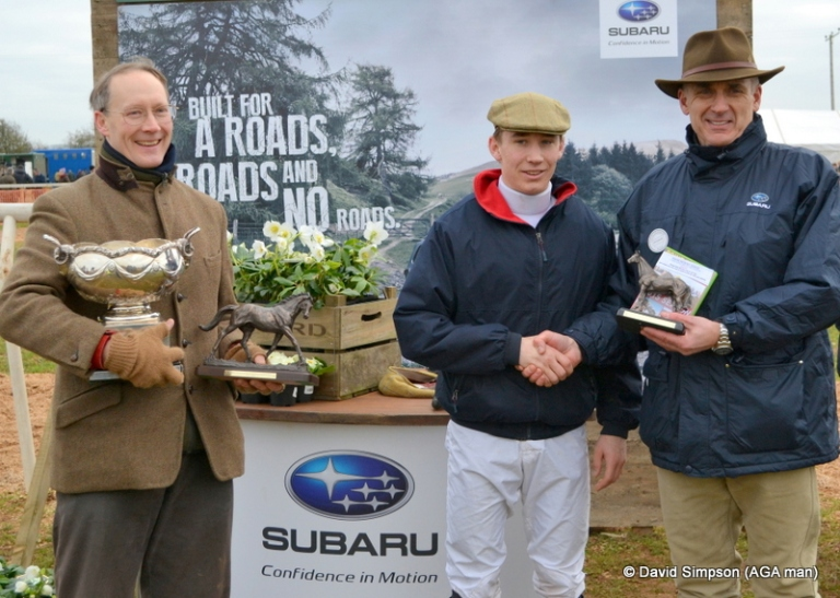 A handshake for winning rider, Tom Chatfeild-Roberts from Subaru Dealer Principal, Stephen Wilkins, while winning owner, John Chatfeild-Roberts looks on