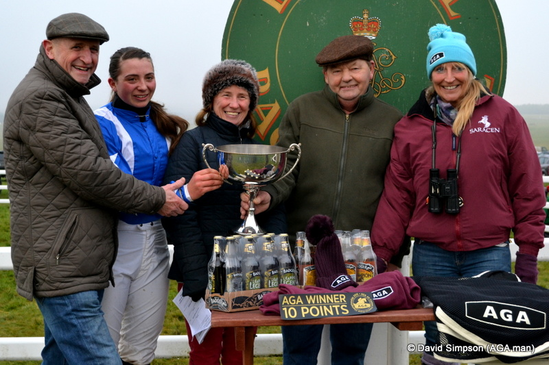 Pauline Harkin (far right) does the honours following the AGA sponsored ladies open race
