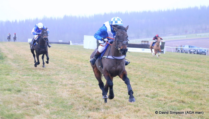 Alfie Martindale and Otterburn Lady win the 148cm and under pony race