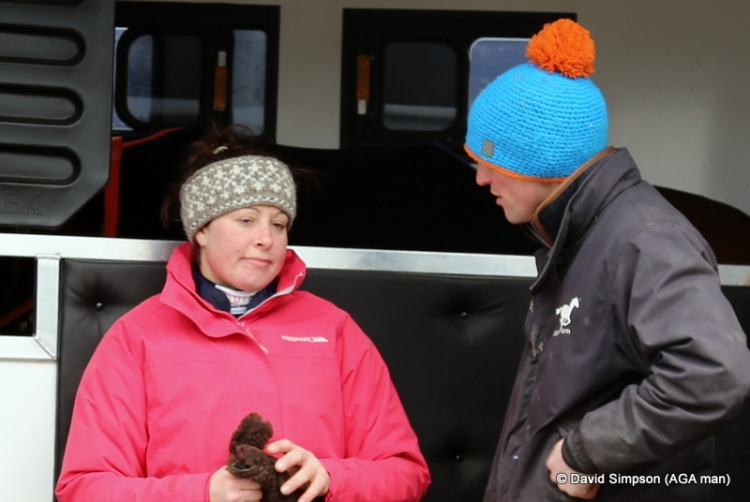 Claire Hart and Richard Bandey are reluctant to leave the lorry due to their choice of head gear!