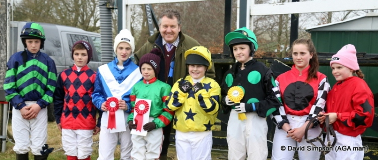 Some of the young riders line-up for a pic with the AGA man