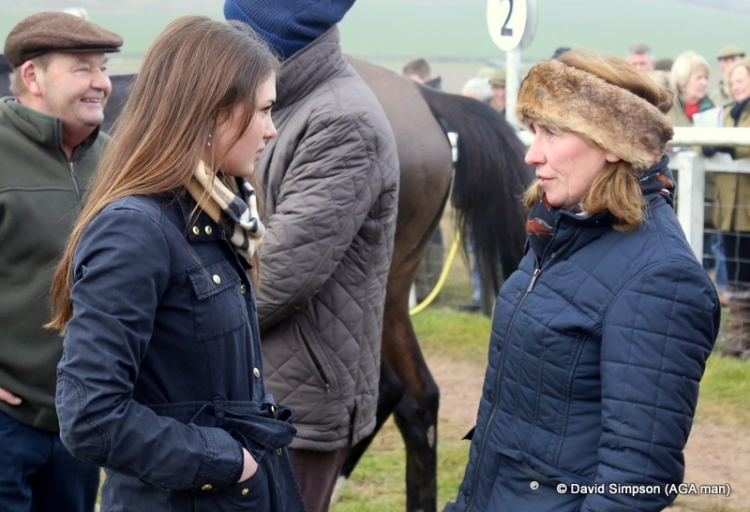 Megan Nicholls (left) catches up with Rose Loxton, the pair were often in the winners enclosure together last season