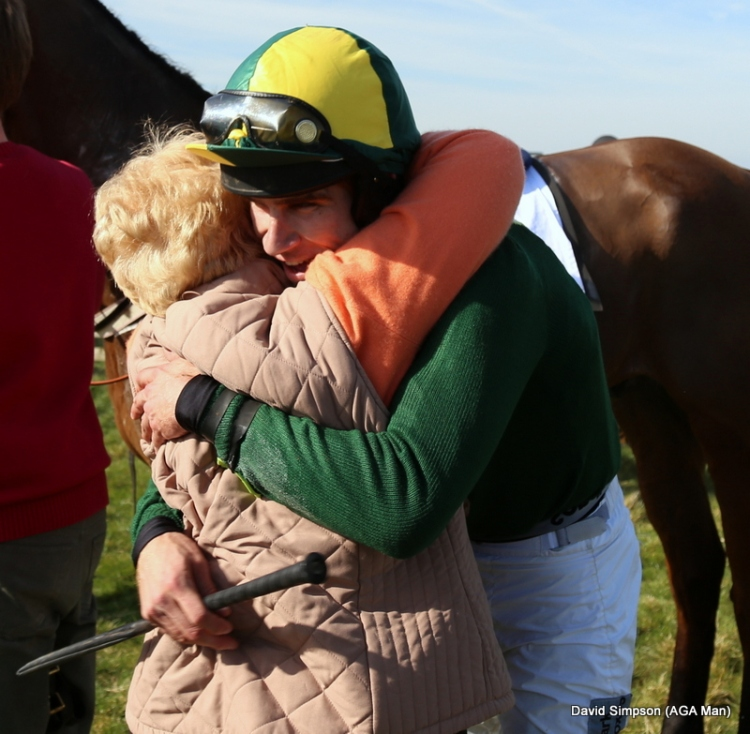 A hug for Johnny Bailey after his win on Sisco Kid